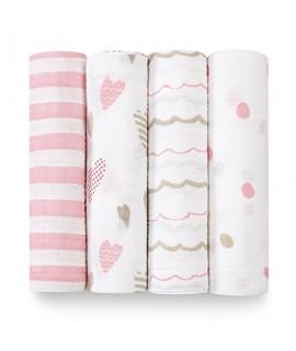 ADEN+ANAIS 經典愛心點點系列 - 輕柔新生兒包巾(4入)