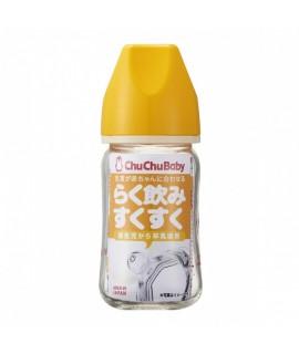 CHU CHU 彩色版耐熱玻璃「闊身」奶樽 黃色 160ML