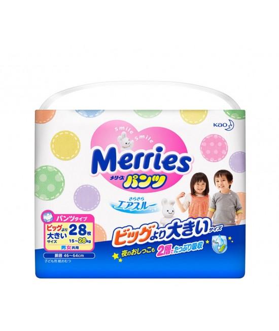 [增量裝] MERRIES 學習紙尿褲 BIG L(XXL) 加加大碼28片(15-28kgs)