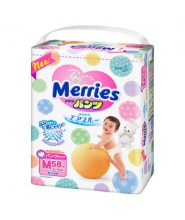 MERRIES 學習紙尿褲 M 中碼58片 (6-10KG)