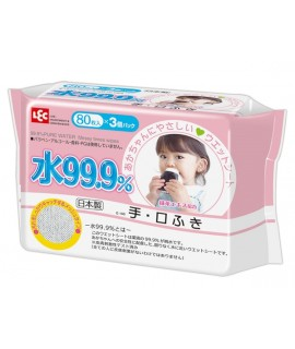 LEC  i-Plus 99.9%水份 嬰兒手、口專用濕紙巾 80s x 3包