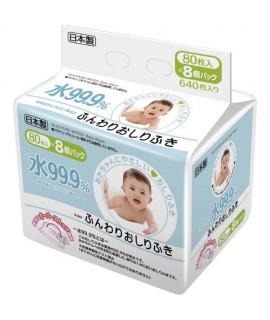 LEC i-Plus 99.9%水份 嬰兒濕紙巾補充裝 80s x 8包