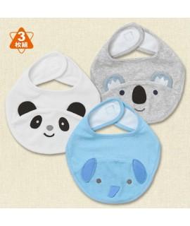 西松屋口水肩3片裝 (熊貓、樹熊、大象)