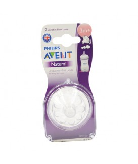 PHILIP AVENT NATURAL VARIABLE 3MONTHS+ NIPPLES X 2PCS
