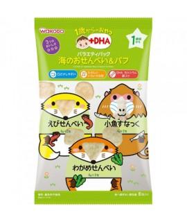 WAKODO 和光堂 +DHA 什錦米餅(蝦,昆布,小魚米果)6袋 #IOP1