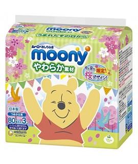 MOONY 柔潤嬰兒濕紙巾補充裝 80S X 3包