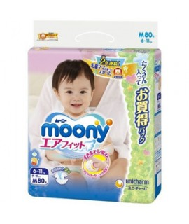 [JUMBO] UNICHARM MOONY 小熊維尼紙尿片 M 中碼80片(6-11kg)