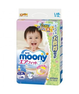 [ JUMBO] UNICHARM MOONY 小熊維尼紙尿片 L 大碼68片 (9-14KGS)