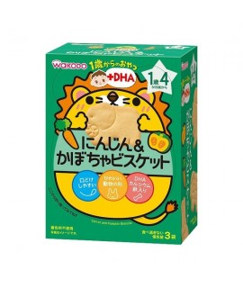 WAKODO 和光堂 +DHA 紅蘿蔔南瓜動物餅 3袋 IO12